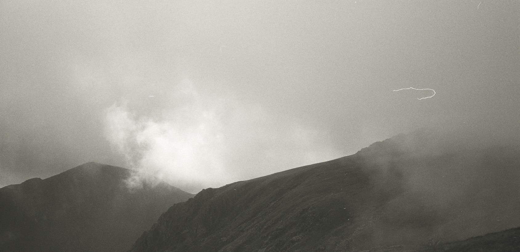 Black and white photo of a mountain in Wales